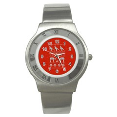 Holiday Party Attire Ugly Christmas Red Background Stainless Steel Watch