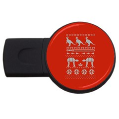 Holiday Party Attire Ugly Christmas Red Background USB Flash Drive Round (4 GB)