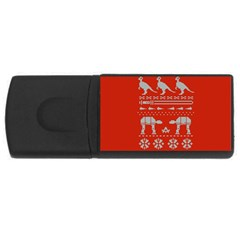 Holiday Party Attire Ugly Christmas Red Background USB Flash Drive Rectangular (4 GB)
