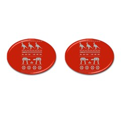 Holiday Party Attire Ugly Christmas Red Background Cufflinks (Oval)