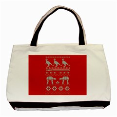 Holiday Party Attire Ugly Christmas Red Background Basic Tote Bag