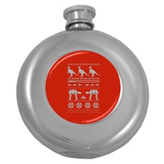 Holiday Party Attire Ugly Christmas Red Background Round Hip Flask (5 oz)