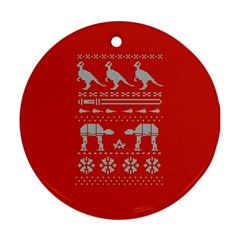 Holiday Party Attire Ugly Christmas Red Background Round Ornament (Two Sides)