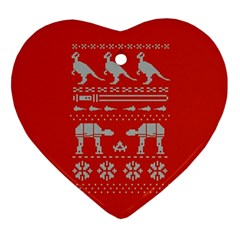 Holiday Party Attire Ugly Christmas Red Background Heart Ornament (2 Sides)