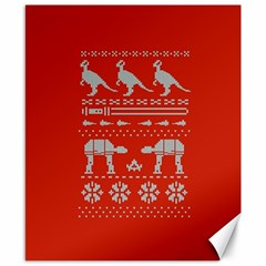 Holiday Party Attire Ugly Christmas Red Background Canvas 8  x 10