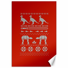Holiday Party Attire Ugly Christmas Red Background Canvas 12  x 18