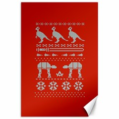 Holiday Party Attire Ugly Christmas Red Background Canvas 24  x 36