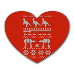 Holiday Party Attire Ugly Christmas Red Background Heart Mousepads