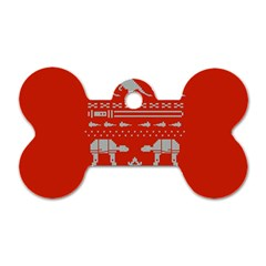 Holiday Party Attire Ugly Christmas Red Background Dog Tag Bone (Two Sides)
