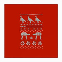 Holiday Party Attire Ugly Christmas Red Background Medium Glasses Cloth (2-Side)