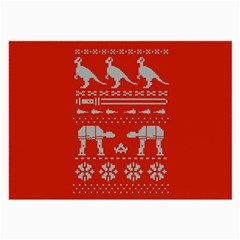 Holiday Party Attire Ugly Christmas Red Background Large Glasses Cloth (2-Side)