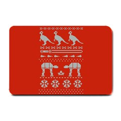 Holiday Party Attire Ugly Christmas Red Background Small Doormat