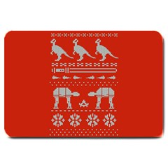 Holiday Party Attire Ugly Christmas Red Background Large Doormat