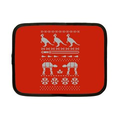 Holiday Party Attire Ugly Christmas Red Background Netbook Case (Small)
