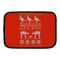 Holiday Party Attire Ugly Christmas Red Background Netbook Case (Medium)
