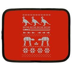 Holiday Party Attire Ugly Christmas Red Background Netbook Case (Large)