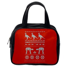 Holiday Party Attire Ugly Christmas Red Background Classic Handbags (One Side)