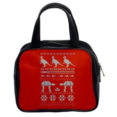 Holiday Party Attire Ugly Christmas Red Background Classic Handbags (2 Sides)