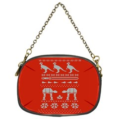 Holiday Party Attire Ugly Christmas Red Background Chain Purses (One Side)