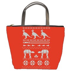 Holiday Party Attire Ugly Christmas Red Background Bucket Bags