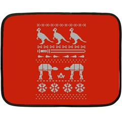 Holiday Party Attire Ugly Christmas Red Background Double Sided Fleece Blanket (Mini)