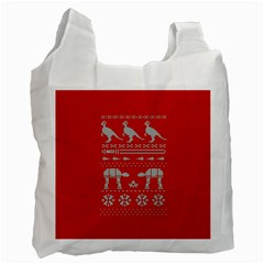 Holiday Party Attire Ugly Christmas Red Background Recycle Bag (One Side)