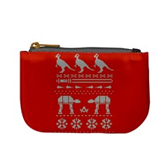 Holiday Party Attire Ugly Christmas Red Background Mini Coin Purses