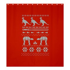 Holiday Party Attire Ugly Christmas Red Background Shower Curtain 66  x 72  (Large)