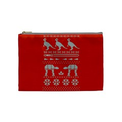 Holiday Party Attire Ugly Christmas Red Background Cosmetic Bag (Medium)