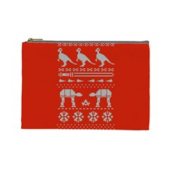 Holiday Party Attire Ugly Christmas Red Background Cosmetic Bag (Large)