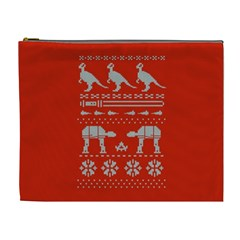 Holiday Party Attire Ugly Christmas Red Background Cosmetic Bag (XL)