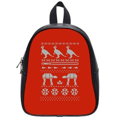 Holiday Party Attire Ugly Christmas Red Background School Bags (Small)