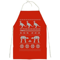 Holiday Party Attire Ugly Christmas Red Background Full Print Aprons