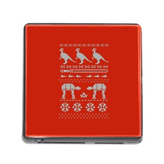 Holiday Party Attire Ugly Christmas Red Background Memory Card Reader (square)