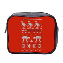 Holiday Party Attire Ugly Christmas Red Background Mini Toiletries Bag 2-Side
