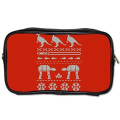 Holiday Party Attire Ugly Christmas Red Background Toiletries Bags