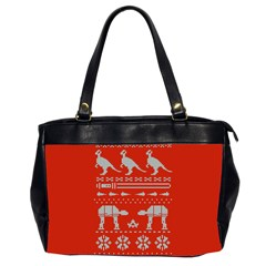 Holiday Party Attire Ugly Christmas Red Background Office Handbags (2 Sides)
