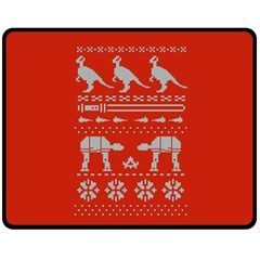 Holiday Party Attire Ugly Christmas Red Background Fleece Blanket (Medium)
