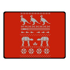 Holiday Party Attire Ugly Christmas Red Background Fleece Blanket (Small)