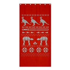 Holiday Party Attire Ugly Christmas Red Background Shower Curtain 36  x 72  (Stall)