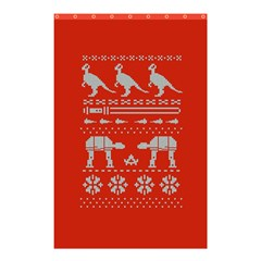 Holiday Party Attire Ugly Christmas Red Background Shower Curtain 48  x 72  (Small)