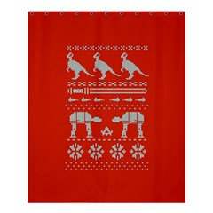 Holiday Party Attire Ugly Christmas Red Background Shower Curtain 60  x 72  (Medium)