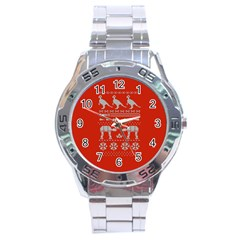 Holiday Party Attire Ugly Christmas Red Background Stainless Steel Analogue Watch