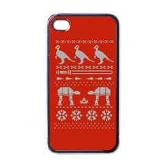 Holiday Party Attire Ugly Christmas Red Background Apple Iphone 4 Case (black)