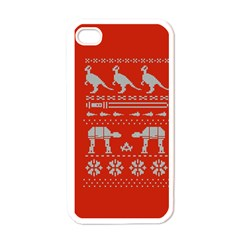 Holiday Party Attire Ugly Christmas Red Background Apple iPhone 4 Case (White)