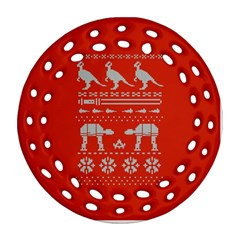 Holiday Party Attire Ugly Christmas Red Background Ornament (Round Filigree)