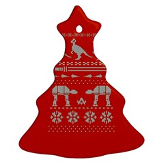 Holiday Party Attire Ugly Christmas Red Background Ornament (Christmas Tree)