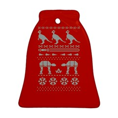 Holiday Party Attire Ugly Christmas Red Background Bell Ornament (2 Sides)