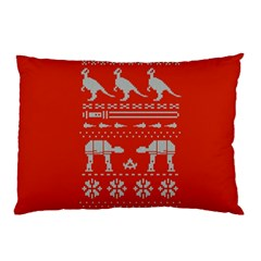 Holiday Party Attire Ugly Christmas Red Background Pillow Case (Two Sides)