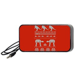 Holiday Party Attire Ugly Christmas Red Background Portable Speaker (Black)